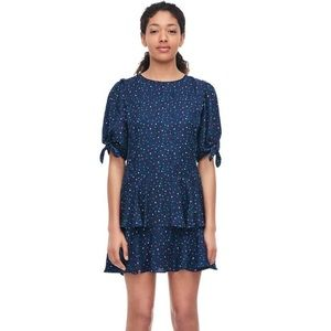 Rebecca Taylor SILK Speckled Puffy Sleeves Dress